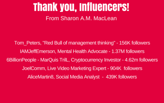 Thank you to influencers